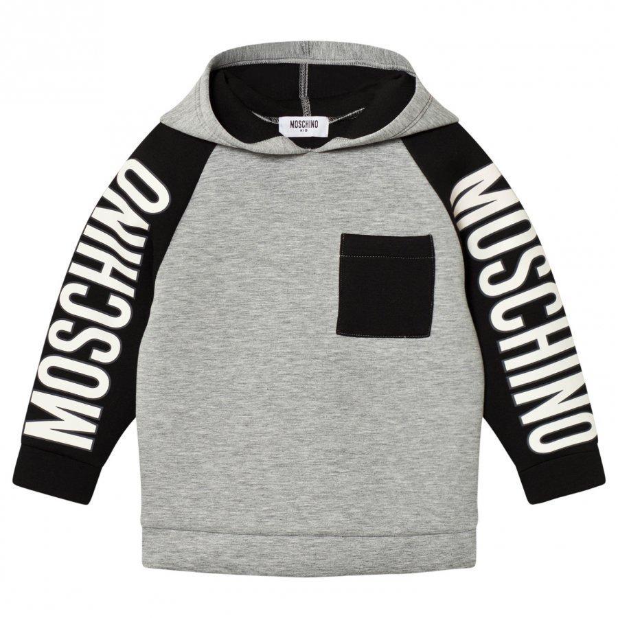 Moschino Kid-Teen Grey/Black Branded Sleeve Neoprene Hoodie Huppari