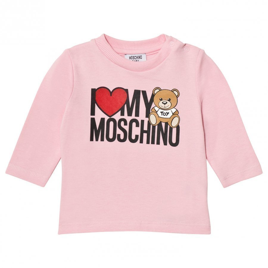 Moschino Kid-Teen Heart Branded Bear Long Sleeve Tee Pink T-Paita