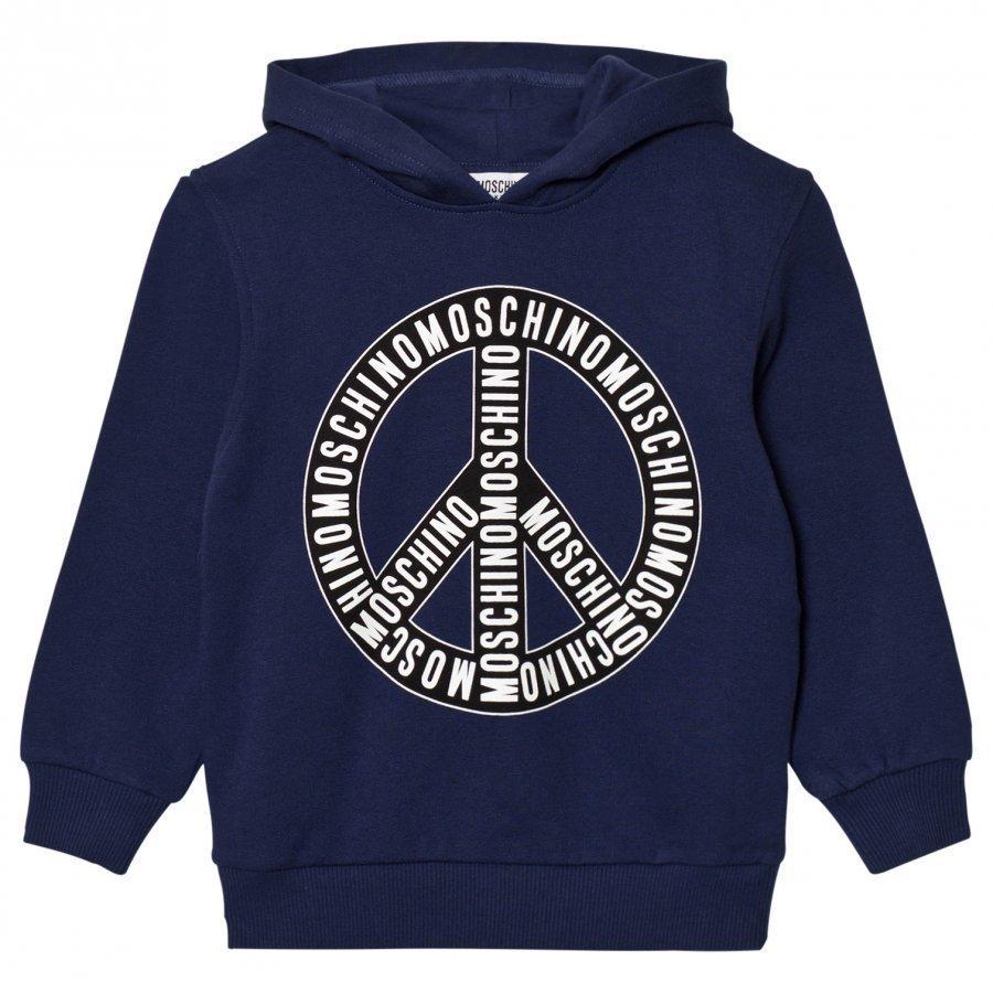 Moschino Kid-Teen Navy Branded Peace Hoodie Huppari