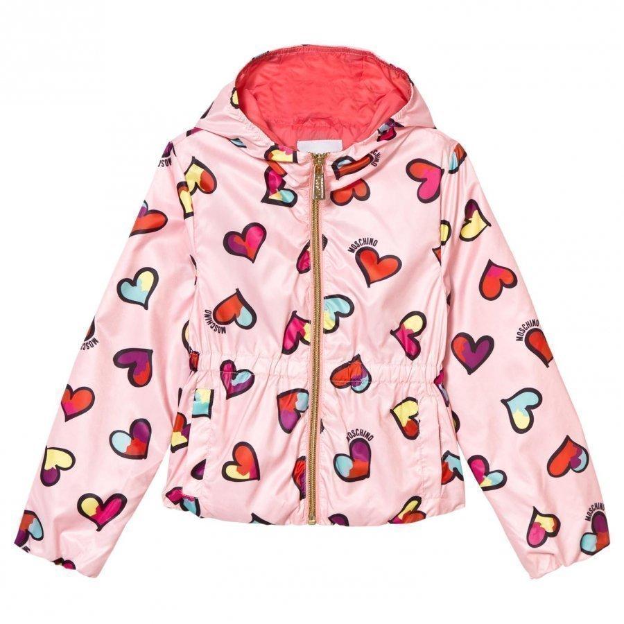Moschino Kid-Teen Pink All Over Heart Print Hooded Jacket Huppari