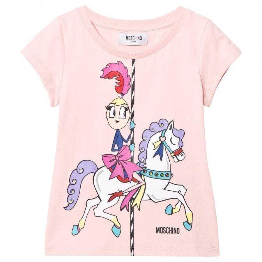 Moschino Kid-Teen Pink Carousel Print Tee T-Paita