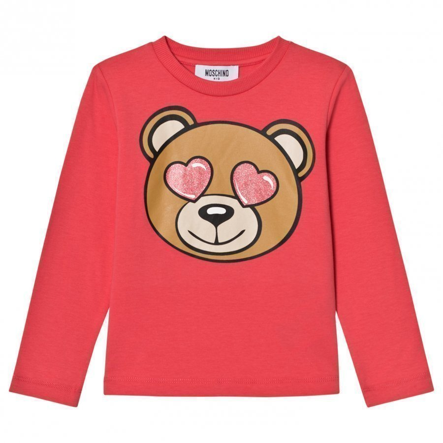 Moschino Kid-Teen Pink Heart Eye Bear Print Tee T-Paita