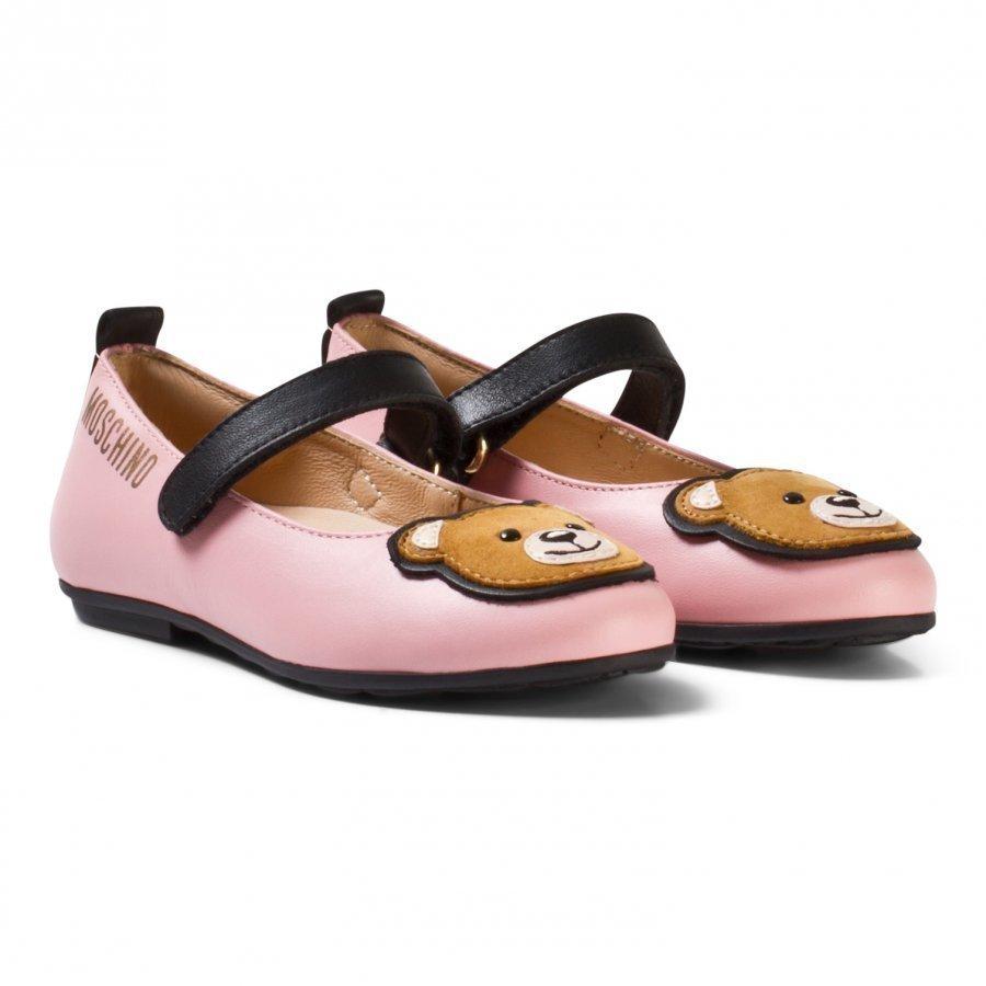 Moschino Kid-Teen Pink Leather Bear Applique Pumps Ballerinat
