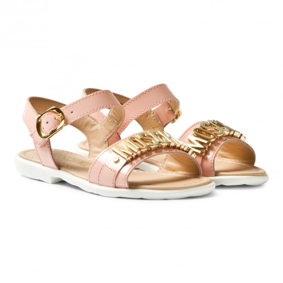 Moschino Kid-Teen Pink Vernice Branded Sandals Remmisandaalit