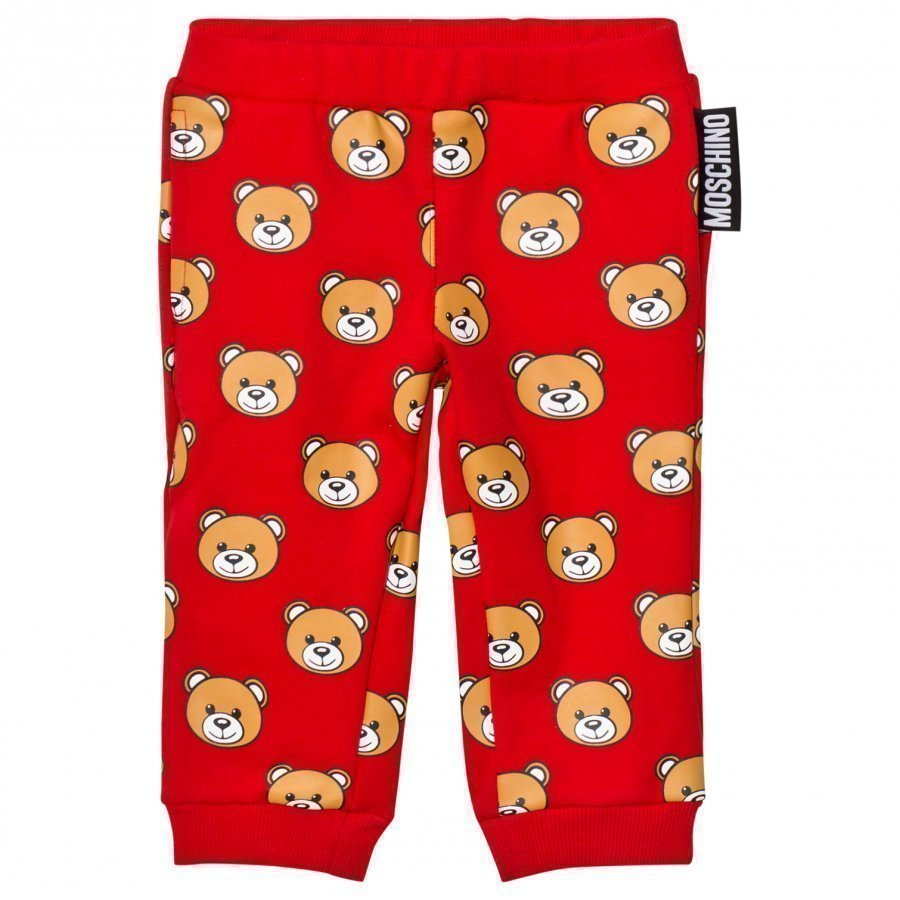 Moschino Kid-Teen Red All Over Bear Print Sweatpants Verryttelyhousut