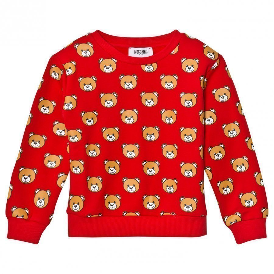 Moschino Kid-Teen Red All Over Bear Print Sweatshirt Oloasun Paita