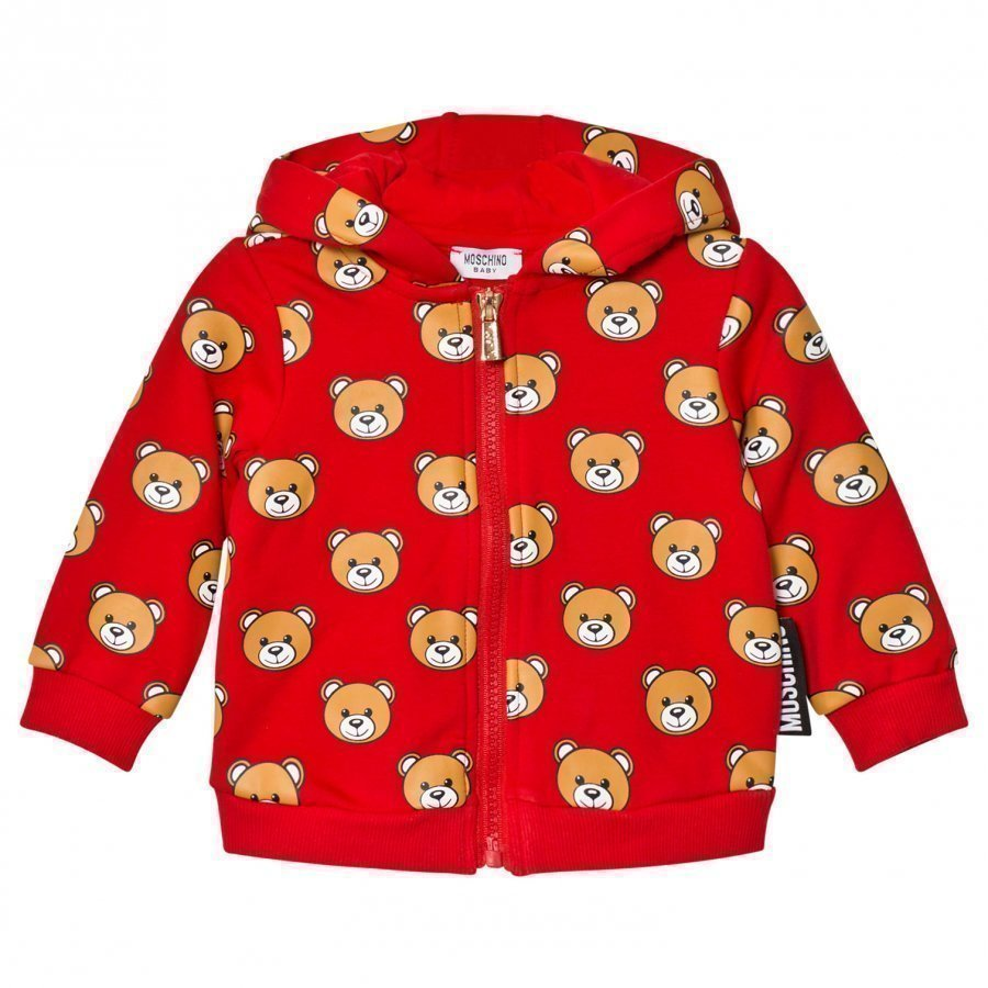 Moschino Kid-Teen Red Bear Print Hoodie Huppari