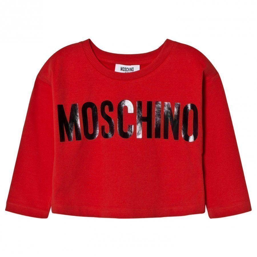 Moschino Kid-Teen Red Branded Boxy Tee T-Paita