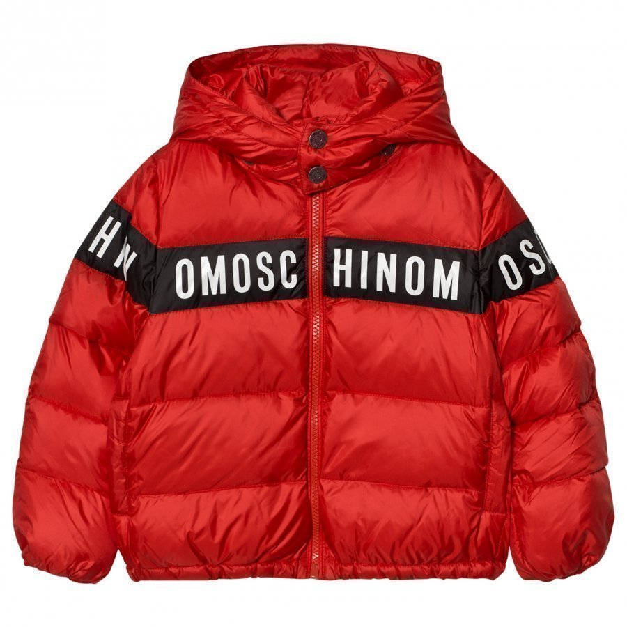 Moschino Kid-Teen Red Branded Down Puffer Coat Toppatakki