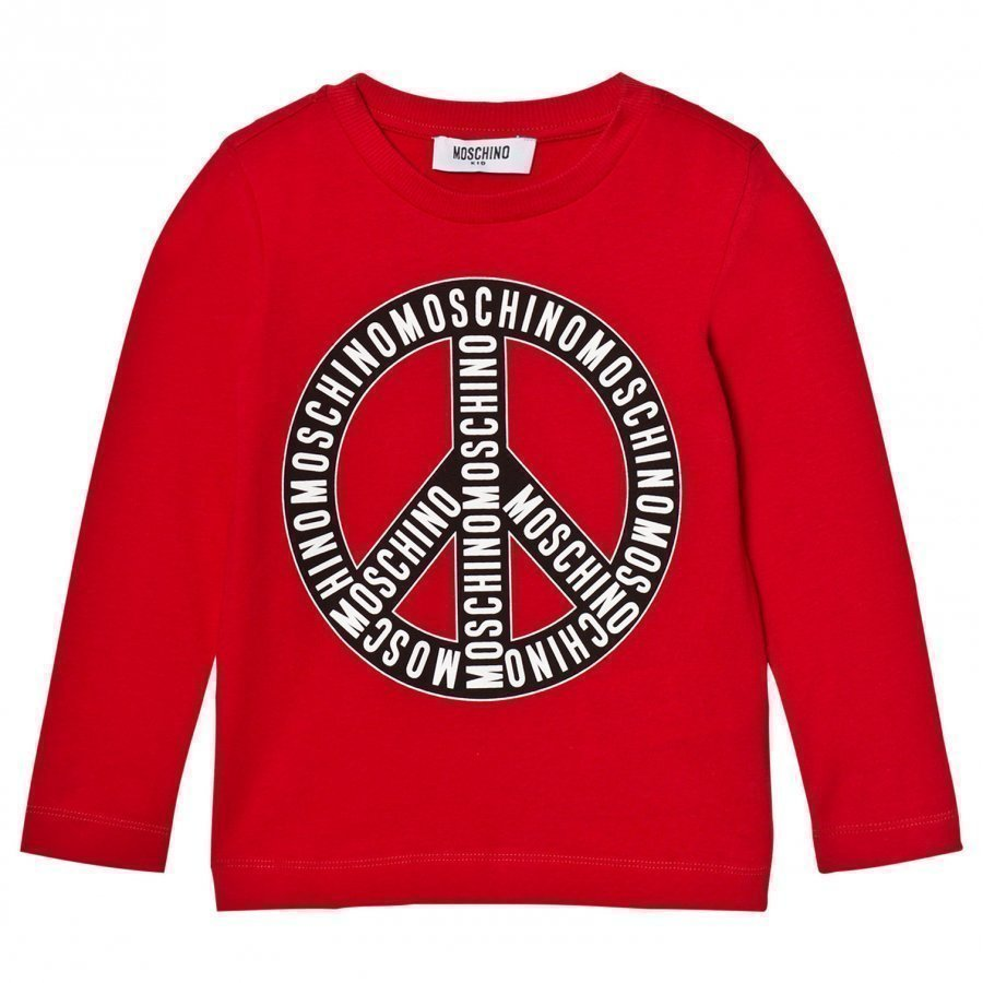 Moschino Kid-Teen Red Branded Peace Long Sleeve Tee T-Paita