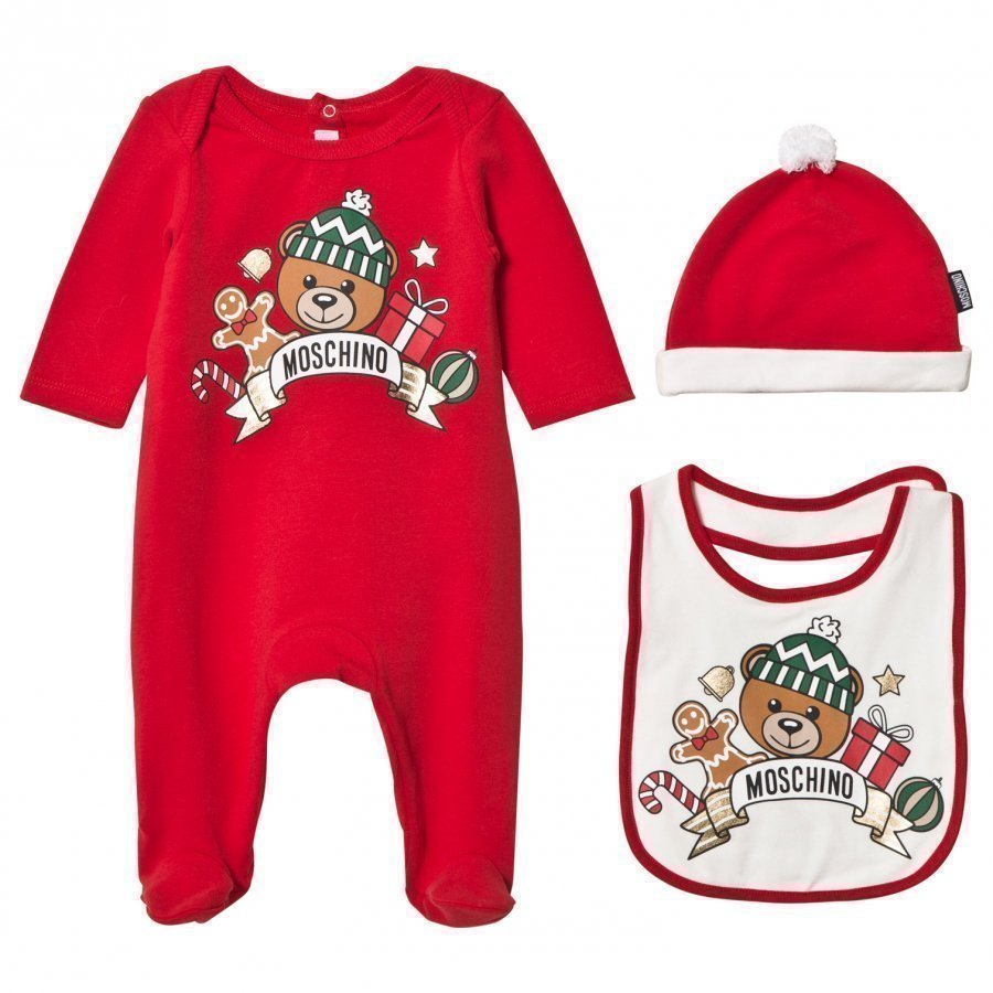 Moschino Kid-Teen Red Christmas Bear Print Footed Baby Body Hat And Bib Gift Box Lahjasetti