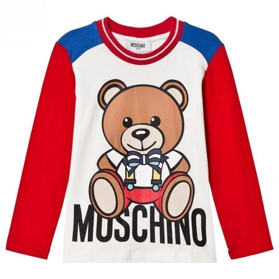 Moschino Kid-Teen Red Christmas Bear Print Tee T-Paita