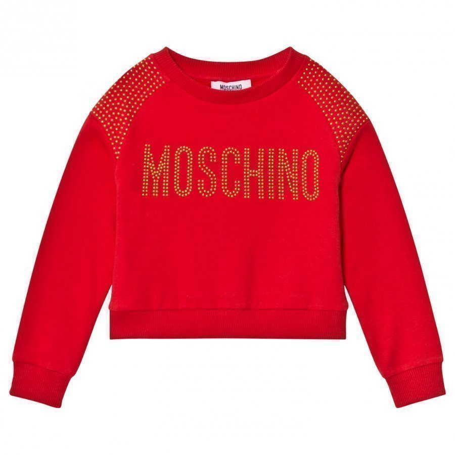 Moschino Kid-Teen Red Studded Logo Sweatshirt Oloasun Paita