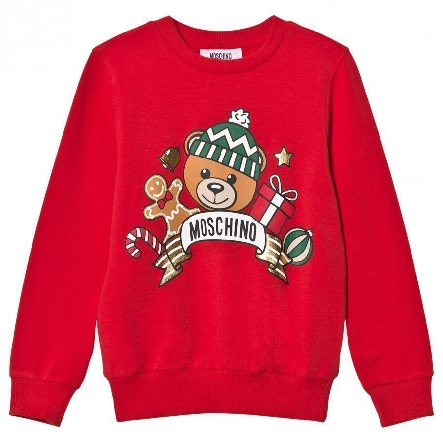 Moschino Kid-Teen Unisex Red Christmas Bear Print Sweatshirt Oloasun Paita
