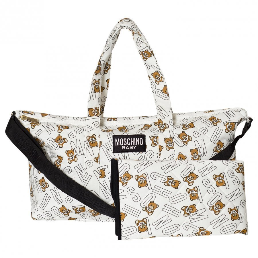 Moschino Kid-Teen White All Over Bear Branded Print Changing Bag Hoitolaukku