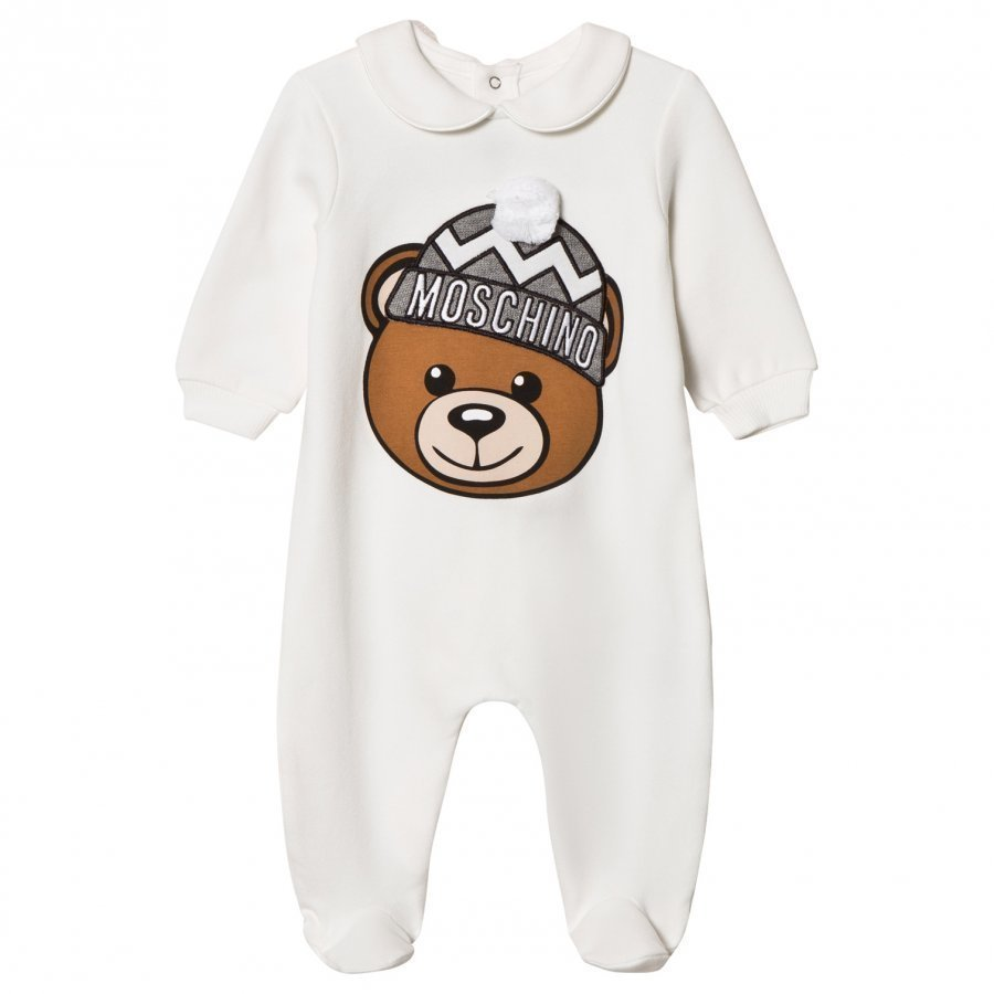 Moschino Kid-Teen White Bear Applique Footed Baby Body In Gift Box Body