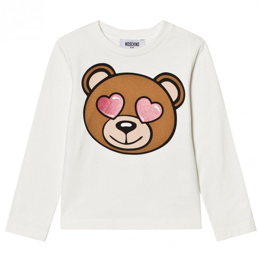 Moschino Kid-Teen White Heart Eye Bear Print Tee T-Paita