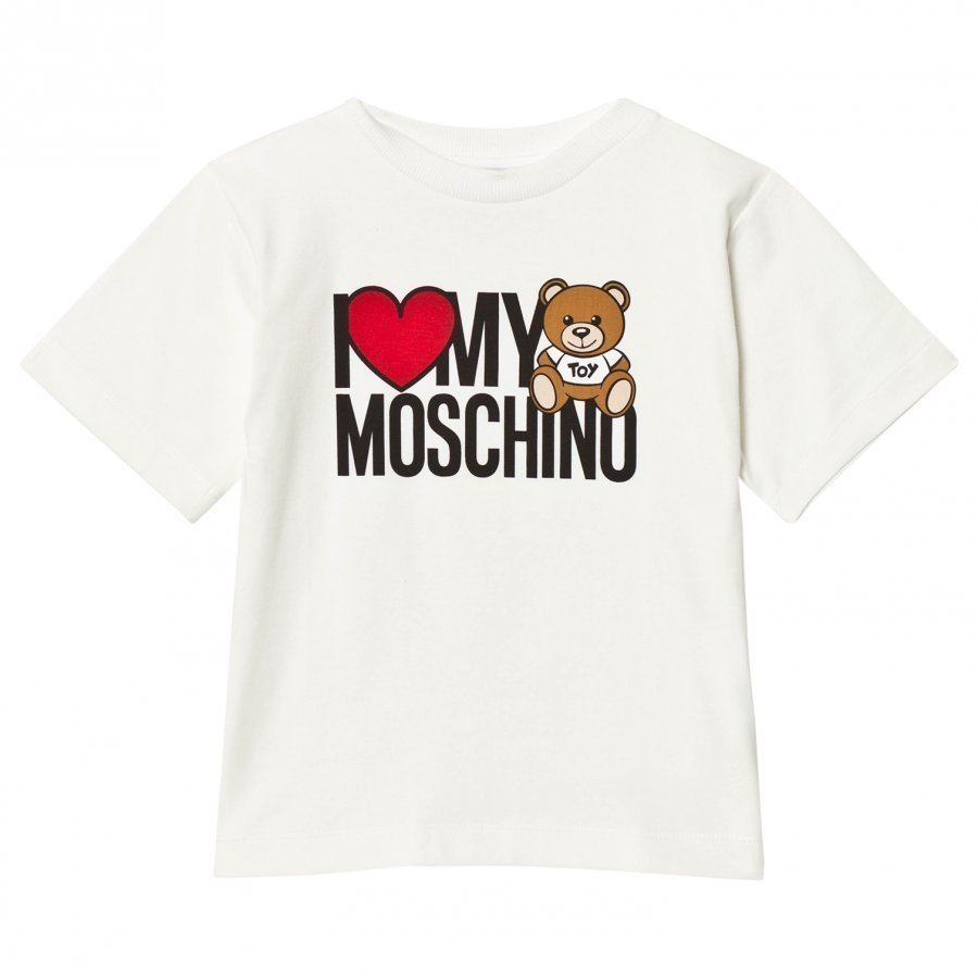 Moschino Kid-Teen White Logo Heart Bear Print Oversize Tee T-Paita