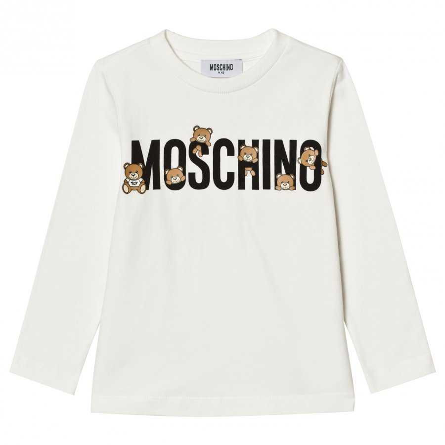 Moschino Kid-Teen White Multi Bear Logo Long Sleeve Tee T-Paita