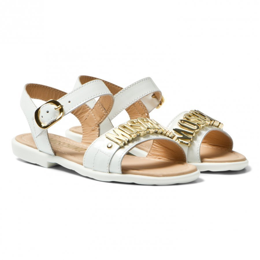 Moschino Kid-Teen White Vernice Branded Sandals Remmisandaalit