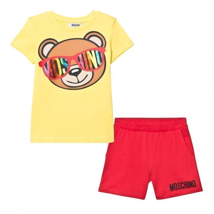 Moschino Kid-Teen Yellow Bear Print Tee And Shorts Set Asusetti