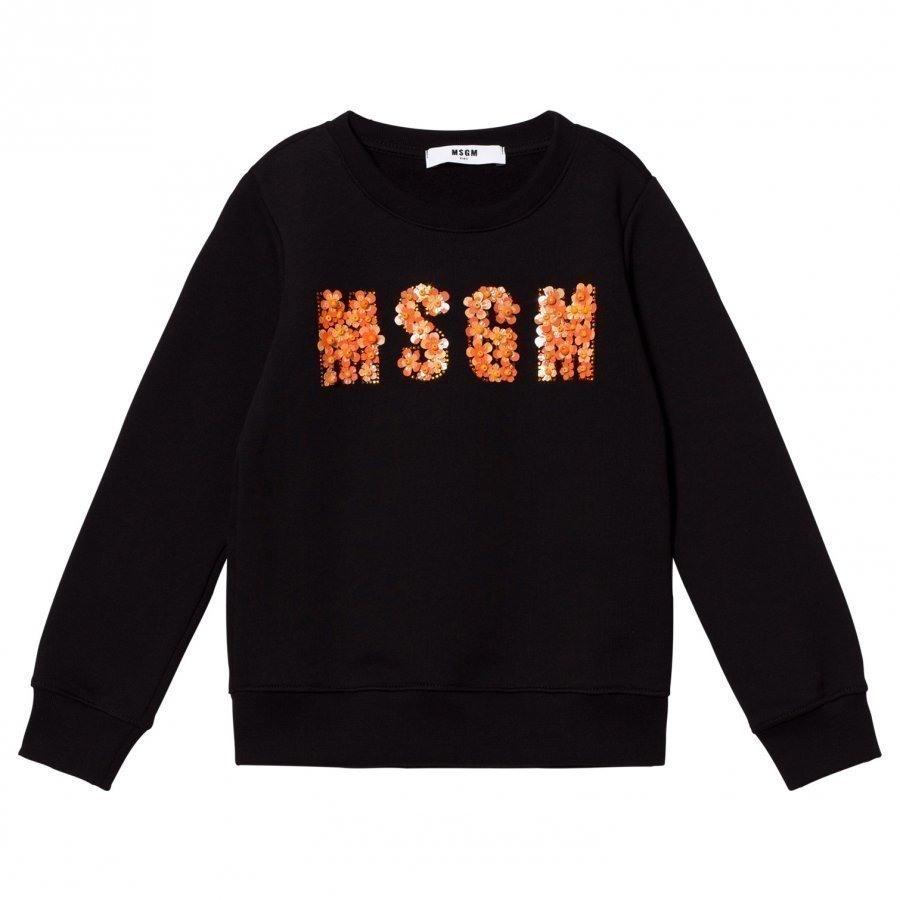 Msgm Black Beaded Logo Sweatshirt Oloasun Paita
