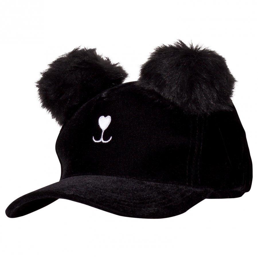 Msgm Black Cat Velour Cap Lippis