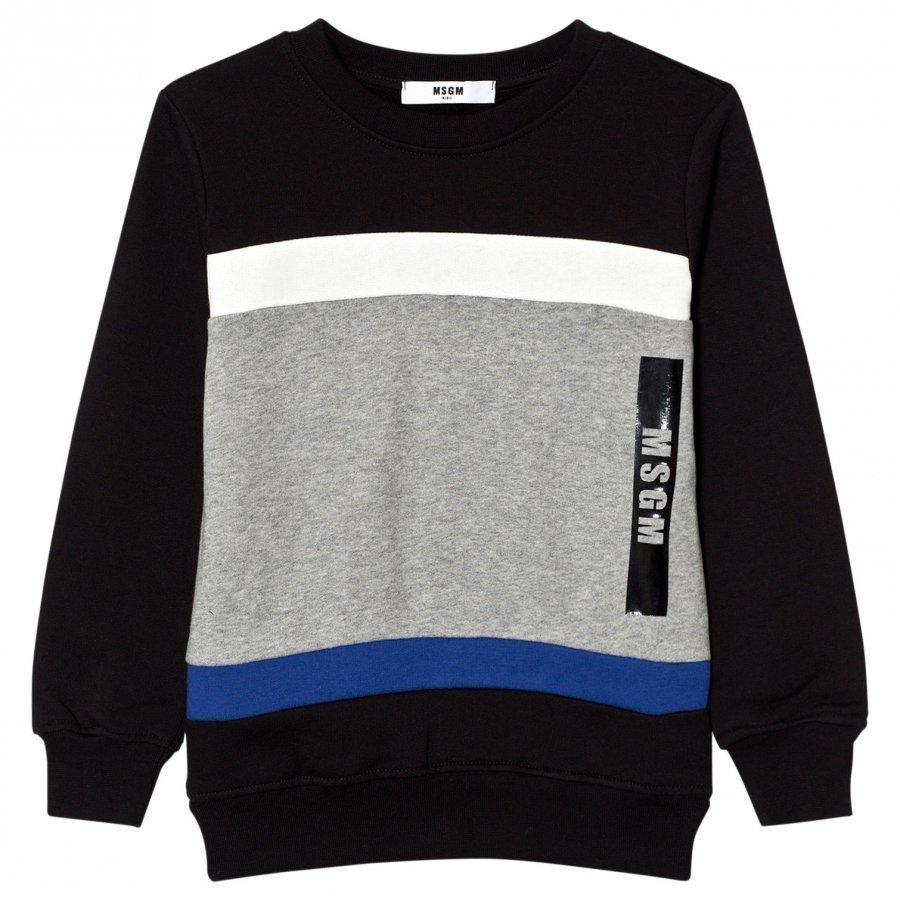 Msgm Black Colorblock Logo Sweatshirt Oloasun Paita