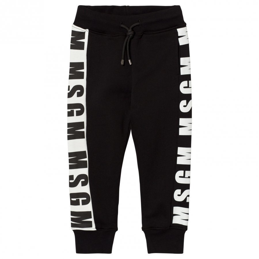 Msgm Black Logo Cuffed Sweatpants Verryttelyhousut