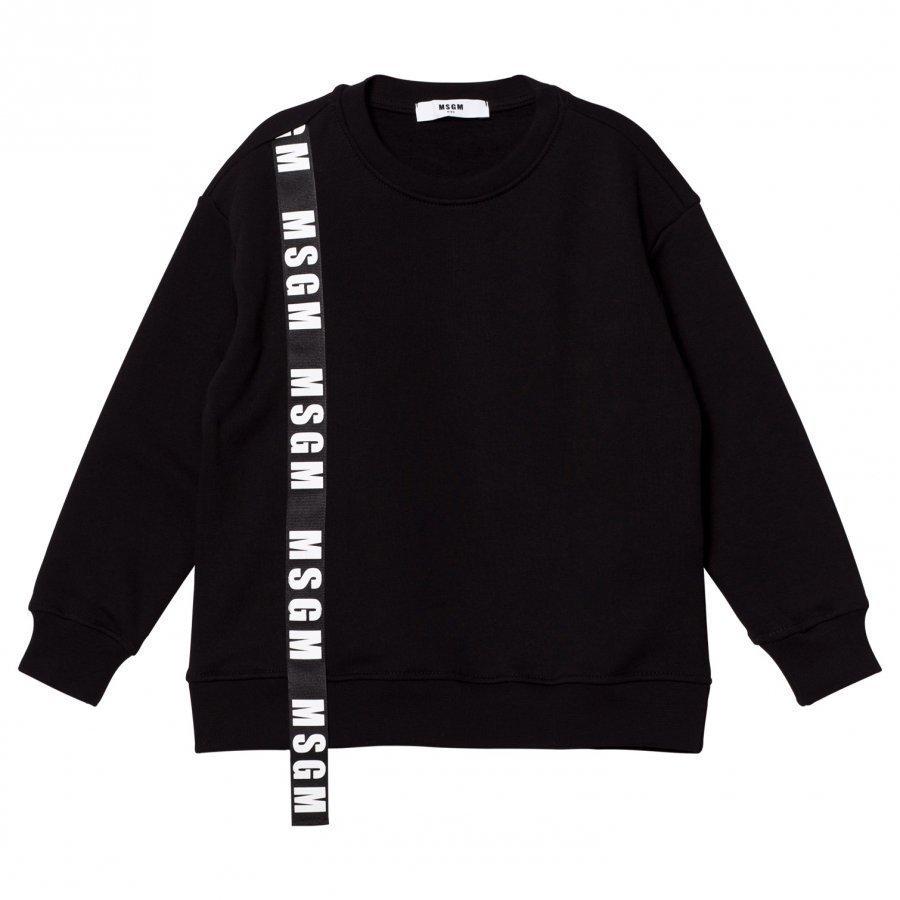 Msgm Black Logo Ribbon Sweatshirt Oloasun Paita