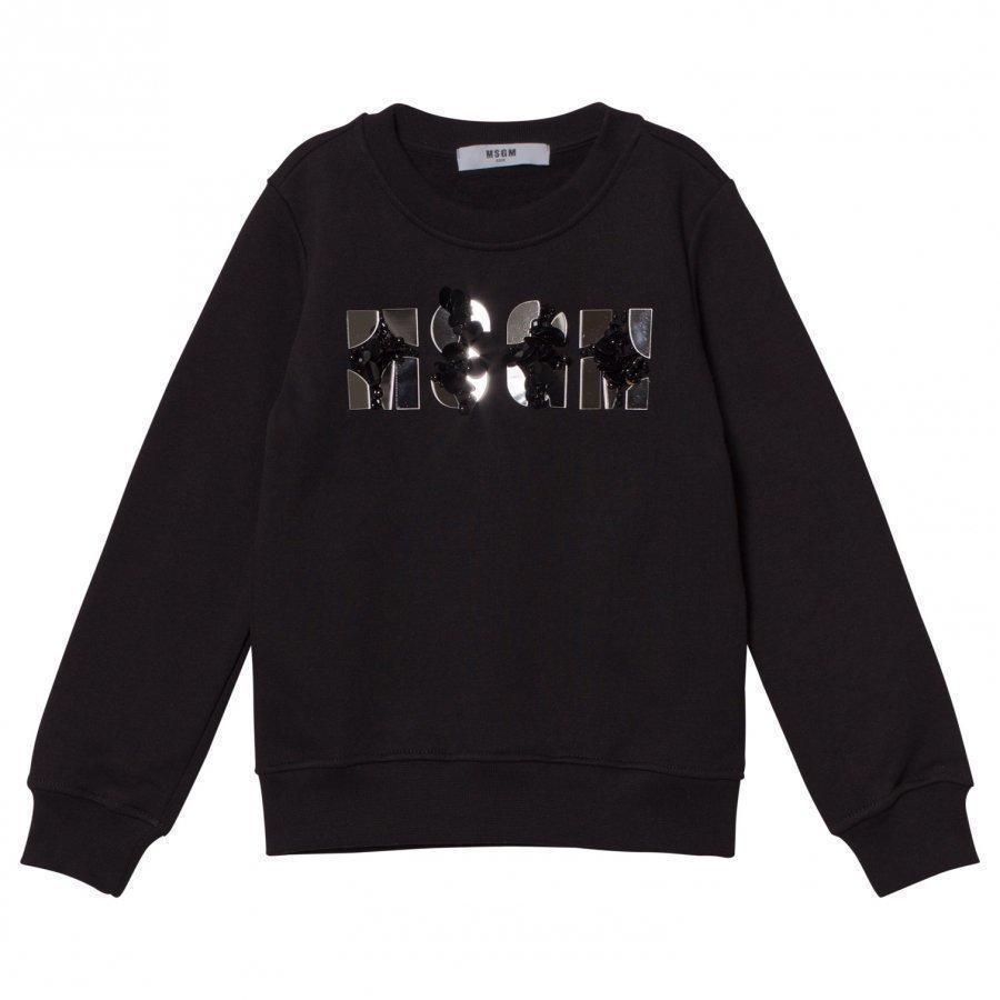 Msgm Black Mirror Bead Logo Sweatshirt Oloasun Paita