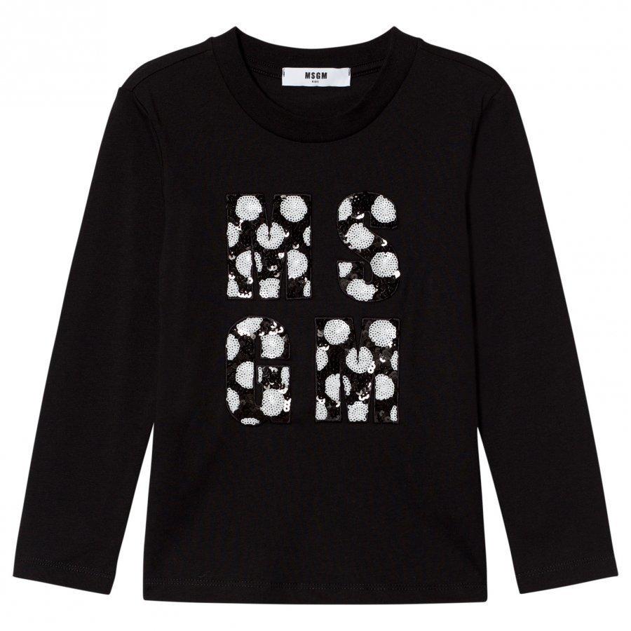 Msgm Black Sequin Logo Tee T-Paita