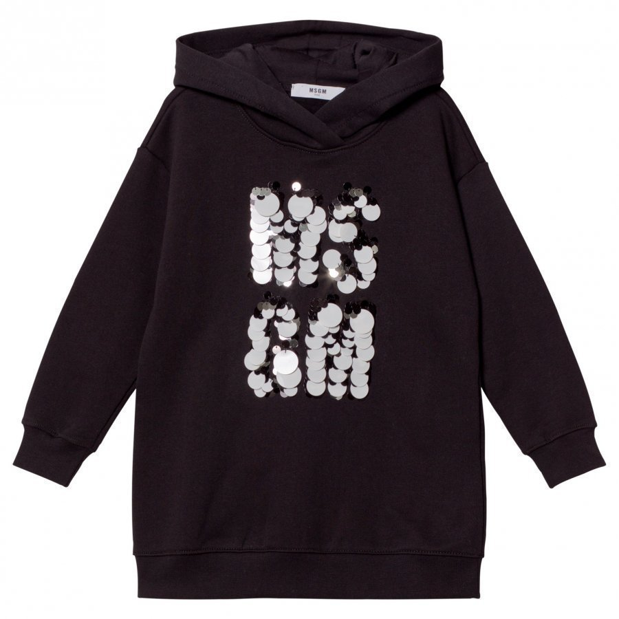 Msgm Black Sequin Paillete Logo Sweat Dress Mekko