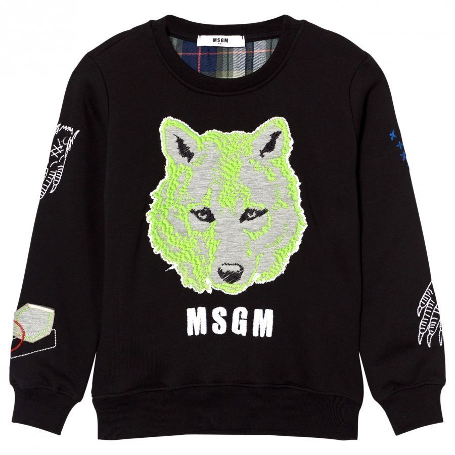Msgm Black Wolf Embroidered Sweatshirt Oloasun Paita