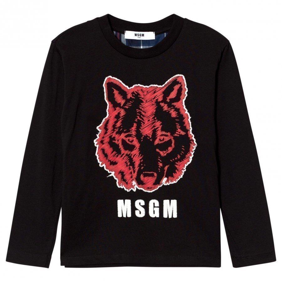 Msgm Black Wolf Graphic Tee T-Paita