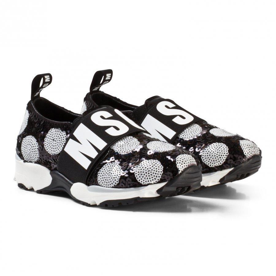 Msgm Black/White Logo Sequin Sneakers Slip On Kengät