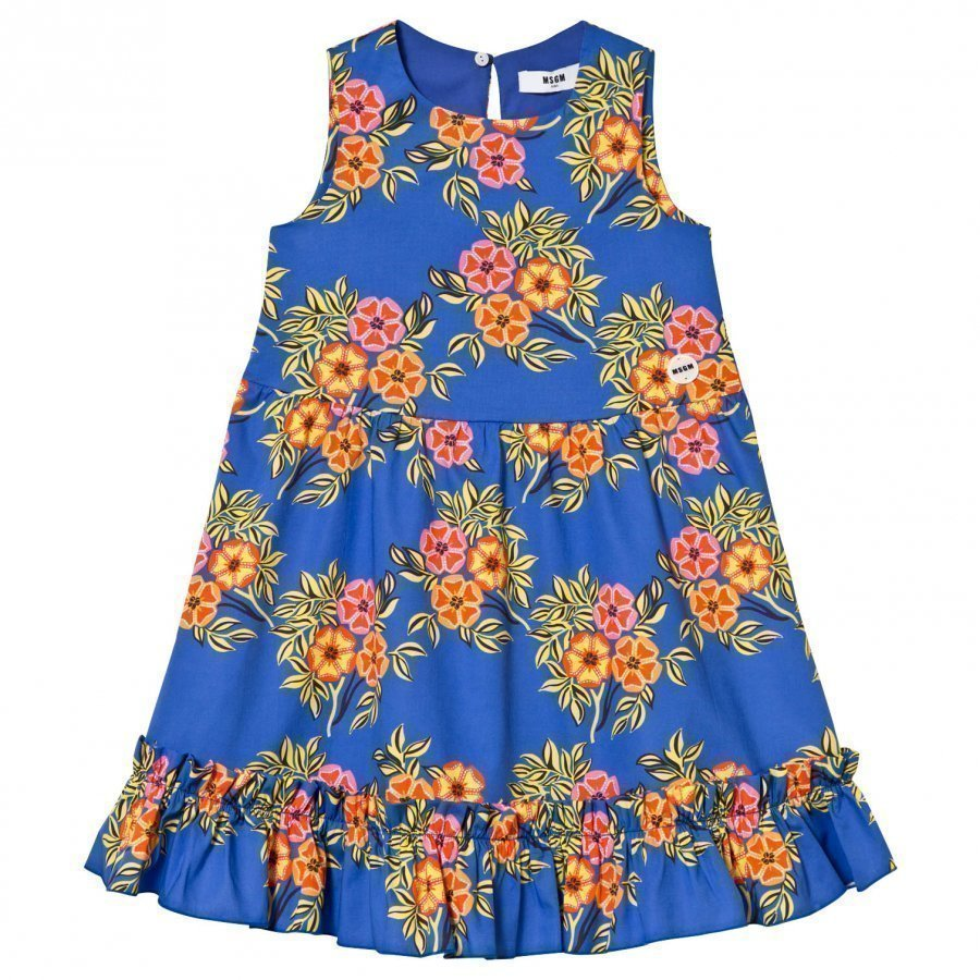 Msgm Blue Floral Frill Detail Dress Mekko