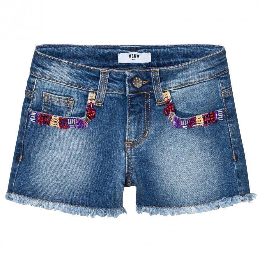 Msgm Blue Multi Embroidered And Beaded Denim Shorts Farkkushortsit