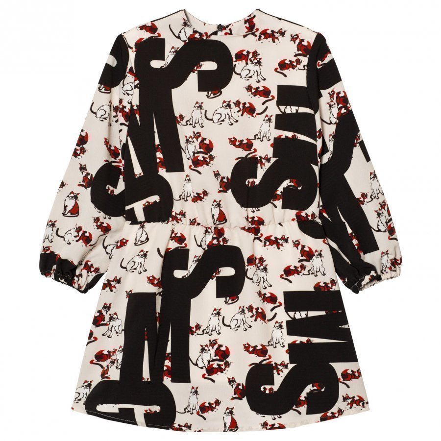 Msgm Cat Logo Silk Dress Juhlamekko