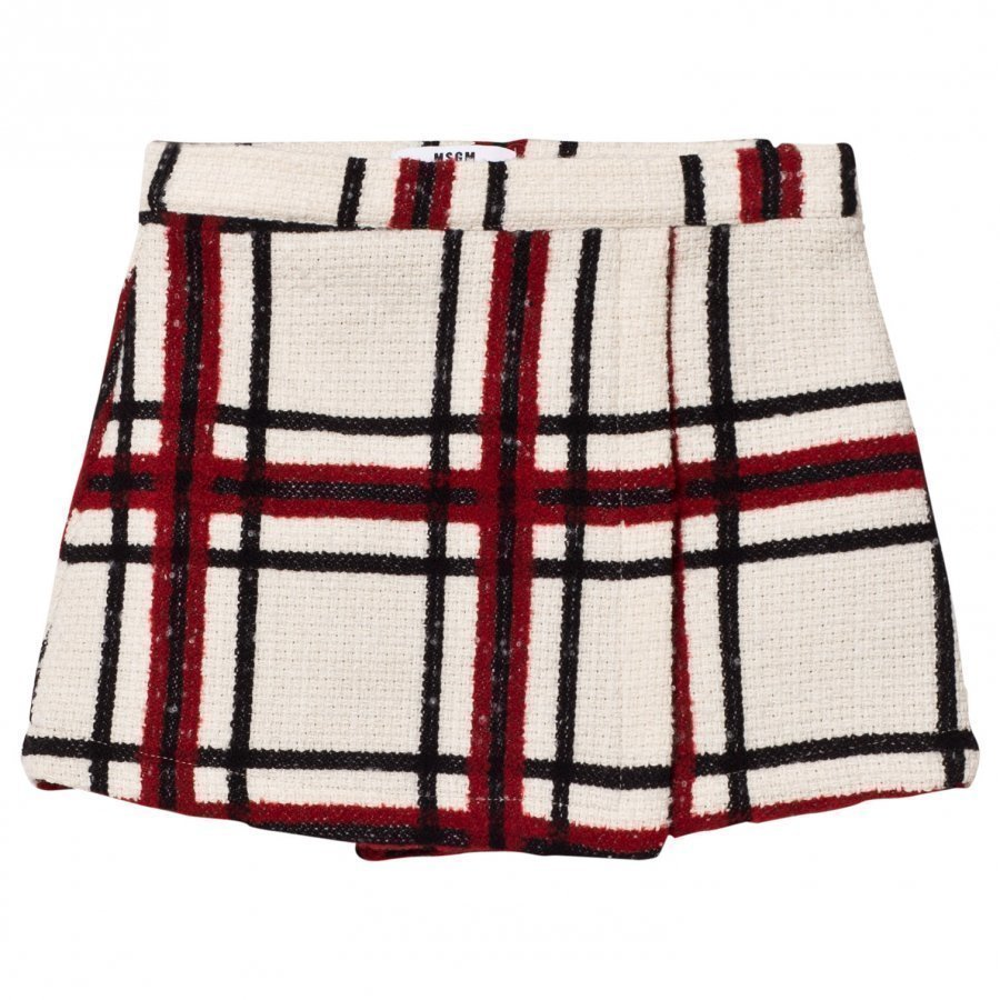 Msgm Cream Check Wool Skirt Lyhyt Hame