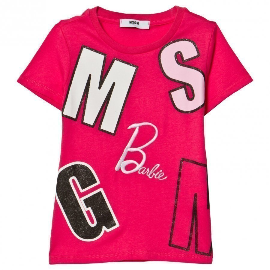 Msgm Fuchsia Logo And Barbie Tee T-Paita