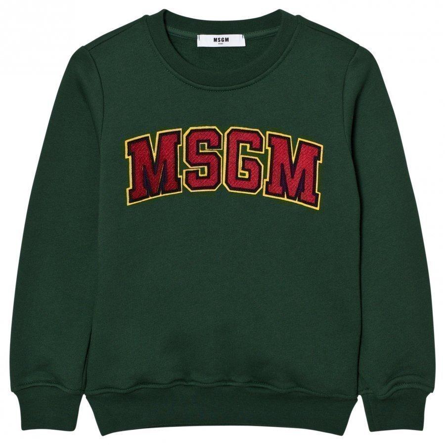 Msgm Green Branded Varsity Sweatshirt Oloasun Paita