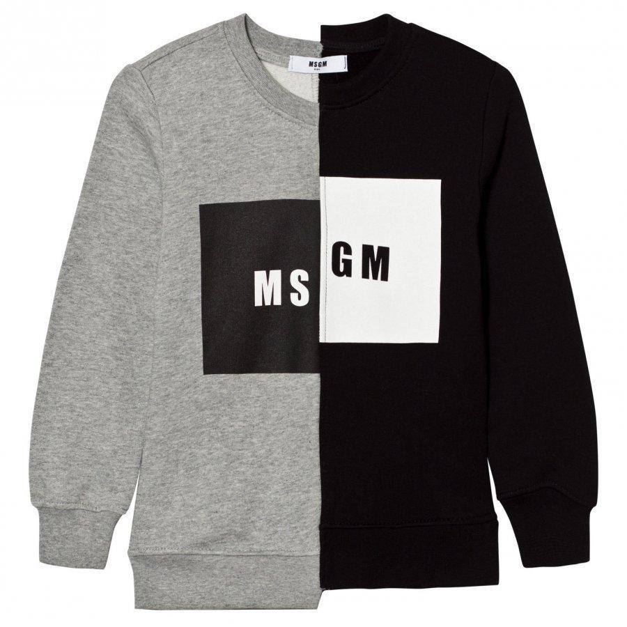 Msgm Grey Black Split Logo Sweatshirt Oloasun Paita