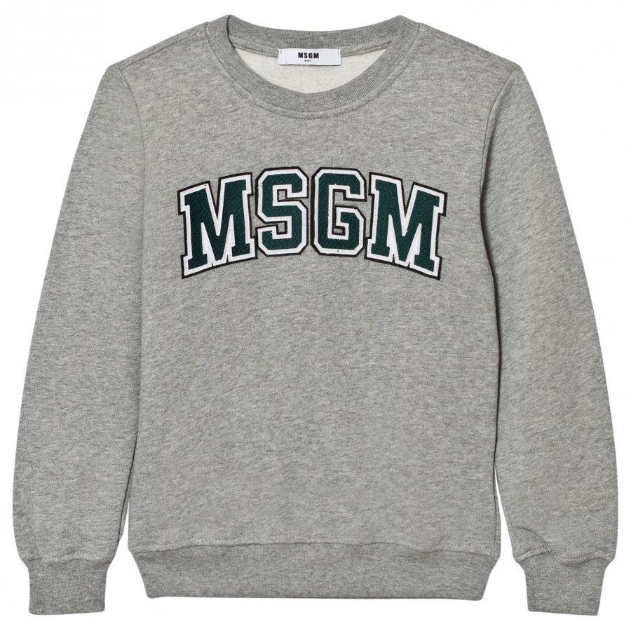 Msgm Grey Branded Varsity Sweatshirt Oloasun Paita