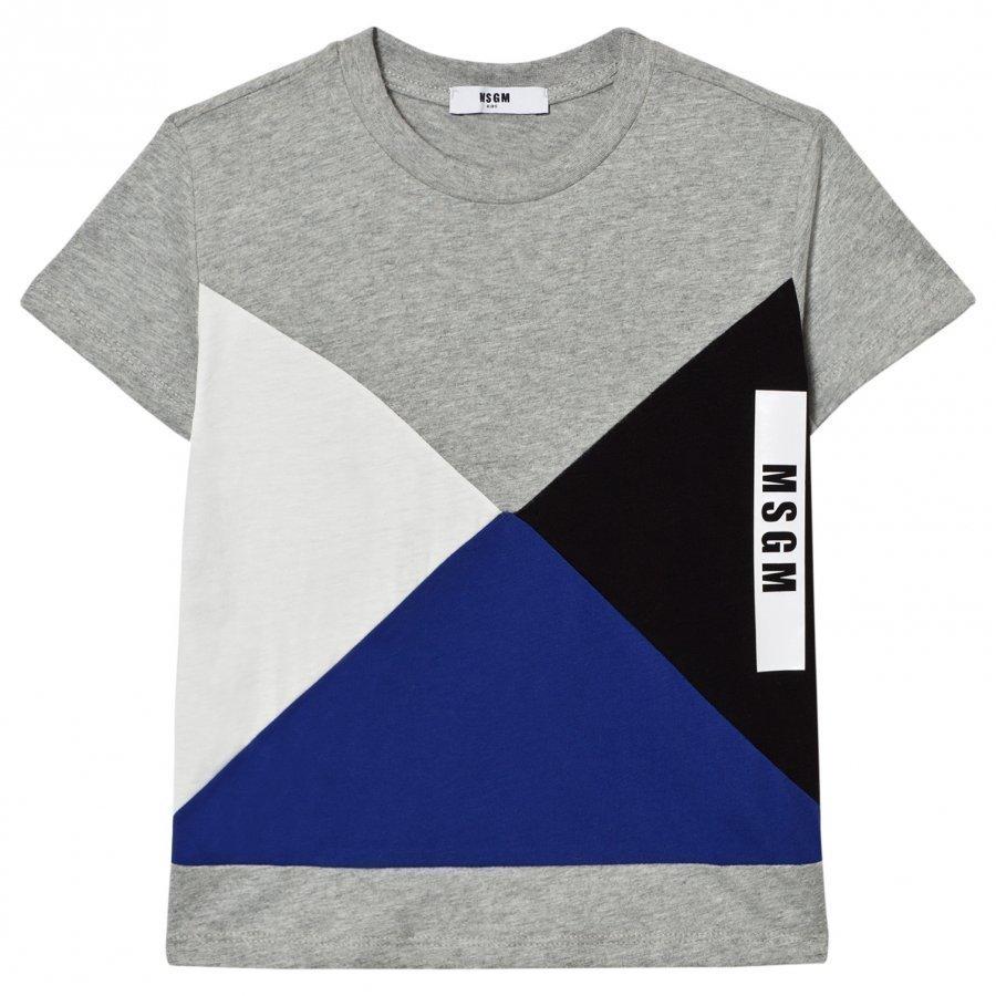Msgm Grey Geometric Logo Tee T-Paita