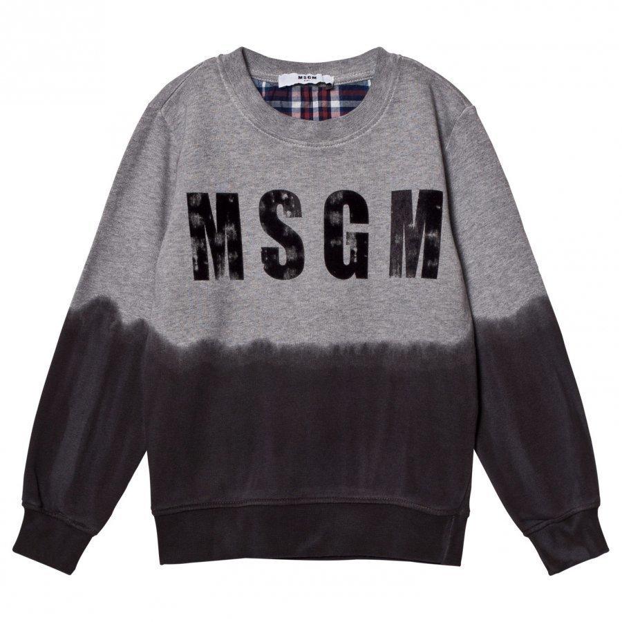Msgm Grey Tie Dye Flock Logo Sweatshirt Oloasun Paita
