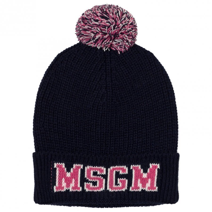Msgm Navy And Pink Logo Beanie Pipo