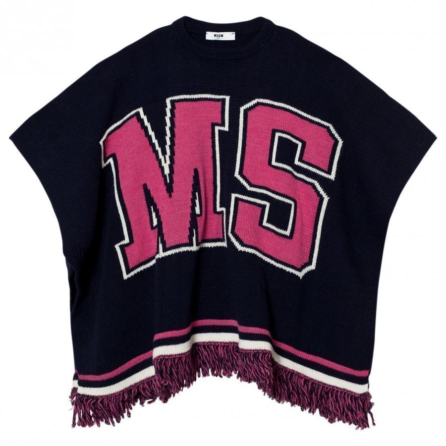 Msgm Navy And Pink Logo Knit Cape Viitta