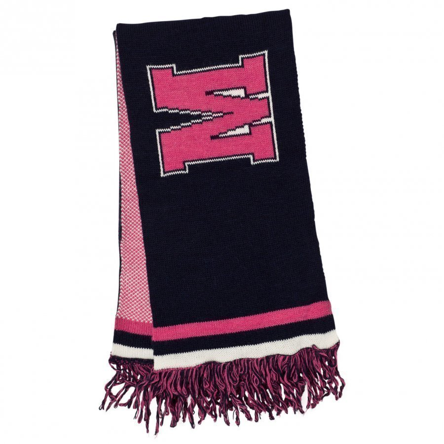 Msgm Navy And Pink Logo Scarf Villahuivi