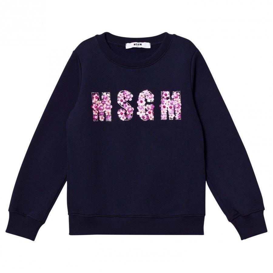 Msgm Navy Beaded Logo Sweatshirt Oloasun Paita